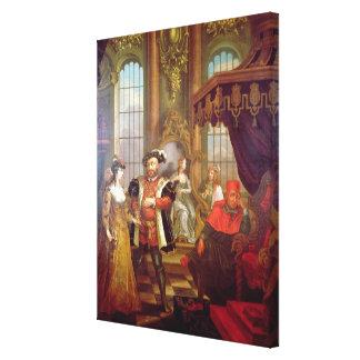 Henry VIII  introducing Anne Boleyn at court Canvas Print