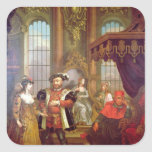 Henry VIII  introducing Anne Boleyn at court Square Stickers