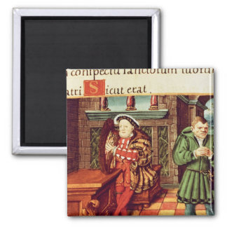Henry VIII Playing a Harp with his Fool Wil 2 Inch Square Magnet