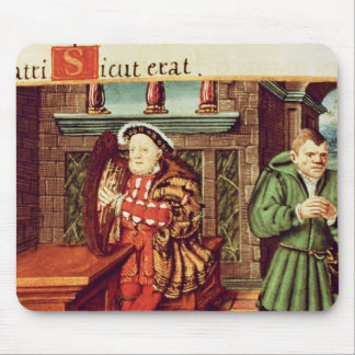 Henry VIII Playing a Harp with his Fool Wil Mouse Pad