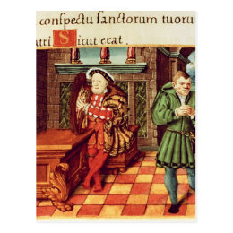 Henry VIII Playing a Harp with his Fool Wil Postcard
