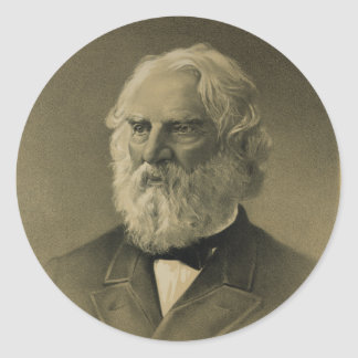 Henry Wadsworth Longfellow Portrait (1888) Classic Round Sticker