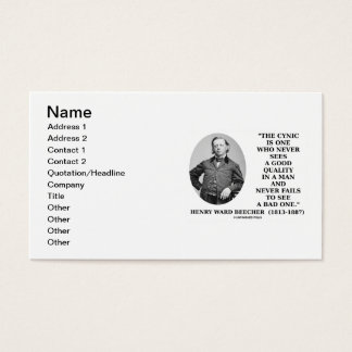 Henry Ward Beecher Cynic Definition Good Quality Business Card