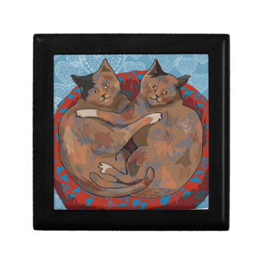 Henry y rubí: Gatos en el amor (caja de regalo) Joyero Cuadrado Pequeño
