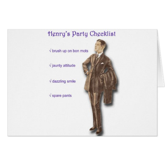 Henry's Party Checklist Card