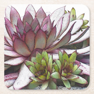 Hens and Chicks Square Paper Coaster