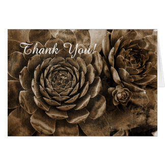 Hens and Chicks Succulent Garden Thank You Card
