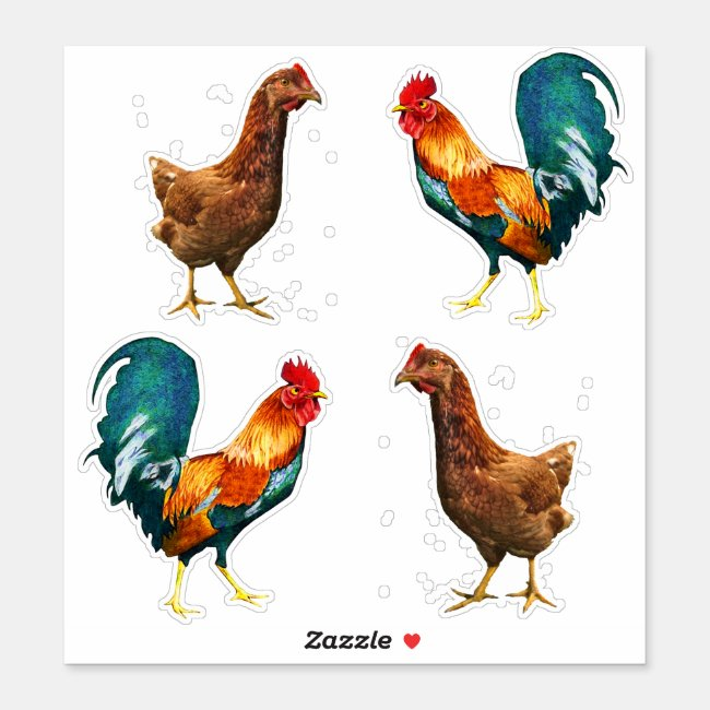 Hens and Roosters Contour Stickers
