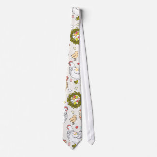 Hens, eggs and nests neck tie