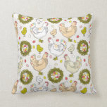 Hens, eggs and nests pillows