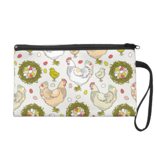 Hens, eggs and nests wristlet