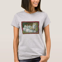 HENS IN THE STABLE, HORSE AND CHICKENS T-SHIRT