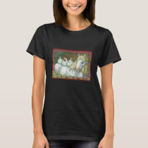 HENS IN THE STABLE, HORSE AND CHICKENS T-SHIRT Blk