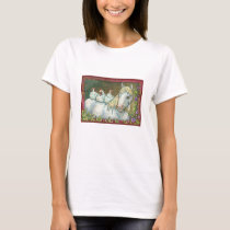 HENS IN THE STABLE, HORSE AND CHICKENS T-SHIRT Wht