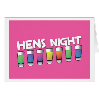 Hens night with Alcohol spirit shots Greeting Card