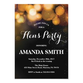 Hens Party Invitation Card Gold Glitter