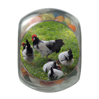 Hens Pecking in the Grass Glass Jar