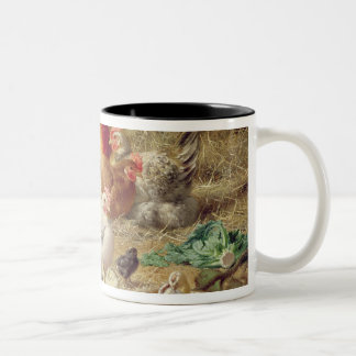 Hens roosting with their chickens Two-Tone coffee mug