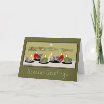 Hens singing egg notes holiday theme card