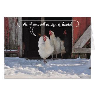 Hens waiting for Santa christmas Card