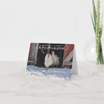Hens waiting for Santa christmas Holiday Card