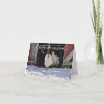 Hens waiting for Santa christmas Holiday Card