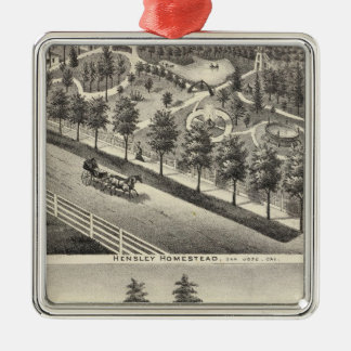 Hensley, Beans residences Square Metal Christmas Ornament