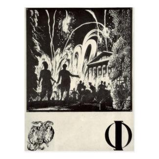 Heorhiy Narbut-Sheet 'F' from 'Ukrainian alphabet' Postcard