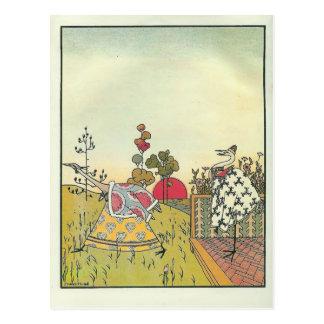 Heorhiy Narbut-  'The crane and heron. Bear.' Postcard