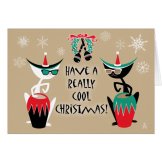 Hep Cats Retro Christmas - Personalized Card