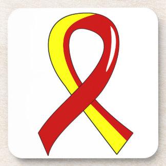 Hepatitis C Red Yellow Ribbon 3 Beverage Coaster