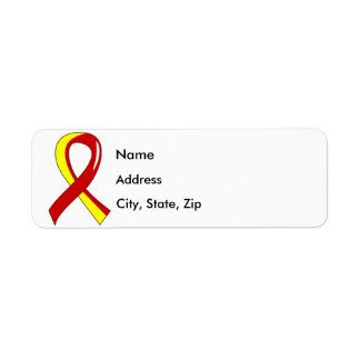 Hepatitis C Red Yellow Ribbon 3 Label