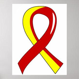 Hepatitis C Red Yellow Ribbon 3 Poster