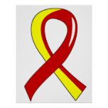 Hepatitis C Red Yellow Ribbon 3 Posters
