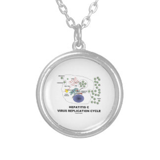 Hepatitis C Viral Replication Cycle Silver Plated Necklace