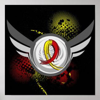 Hepatitis roja y amarilla C de la cinta y de las a Posters