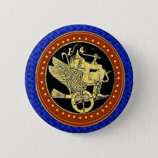 Hephaestus blue pinback button