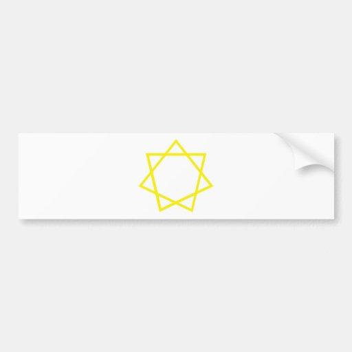 Heptagram amarillo pegatina de parachoque