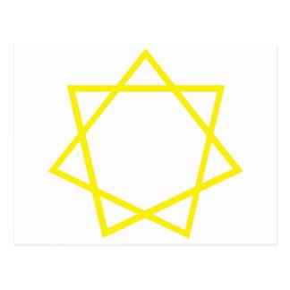 Heptagram amarillo postal