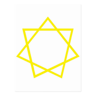 Heptagram amarillo tarjetas postales