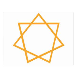 Heptagram anaranjado postal