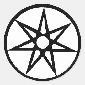 Heptagram Black & White Sticker