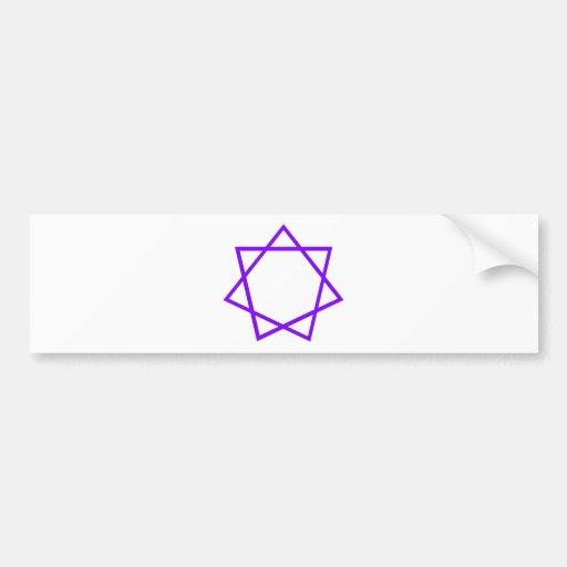 Heptagram púrpura pegatina de parachoque