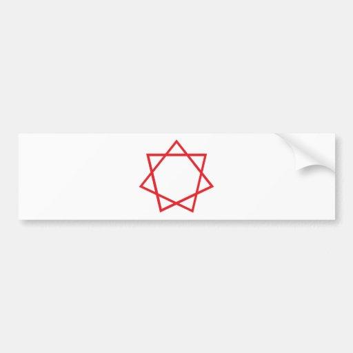 Heptagram rojo pegatina de parachoque