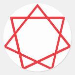 Heptagram rojo pegatina redonda