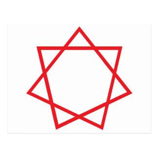 Heptagram rojo postal