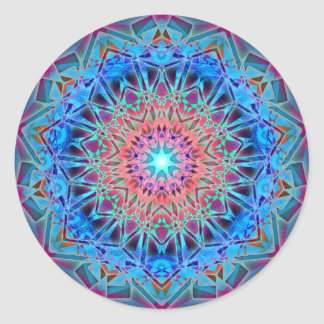 Heptagram Sacred Geometry Mandala Classic Round Sticker