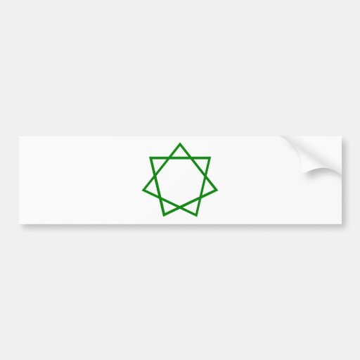 Heptagram verde pegatina de parachoque
