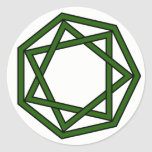 Heptagram verde oscuro en heptágono pegatinas redondas