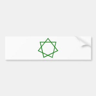 Heptagram verde pegatina para auto